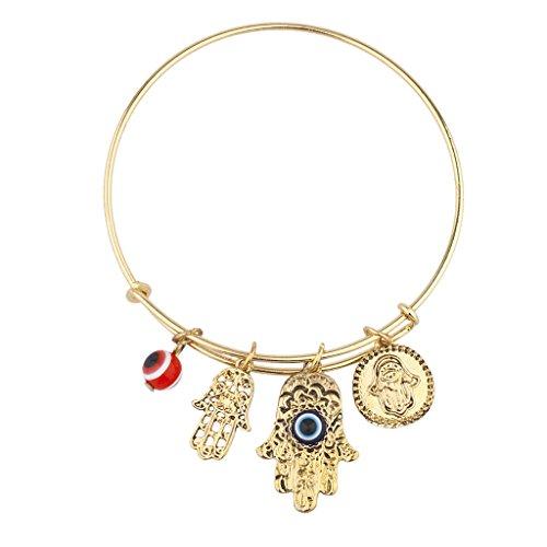 Lux Accessories Goldtone Boho Hamsa Evil Eye Slide Charm Bangle Bracelet Bracelet