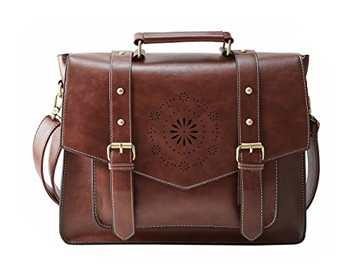 ECOSUSI Synthetic Leather Messenger Shoulder Bag Briefcase Fit up to 14.6inch
