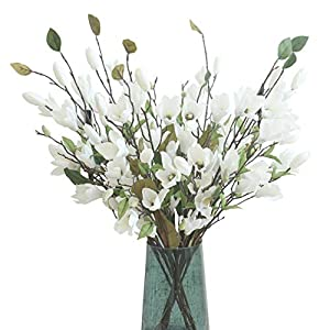 cn-Knight Artificial Flower 6pcs 30'' Long Stem Silk Magnolia Flower with 7 Blossoms and 2 Buds for Home Décor Housewarming Gift Wedding Bridal Bouquet Centerpiece Reception Hotel Restaurant(White) 30