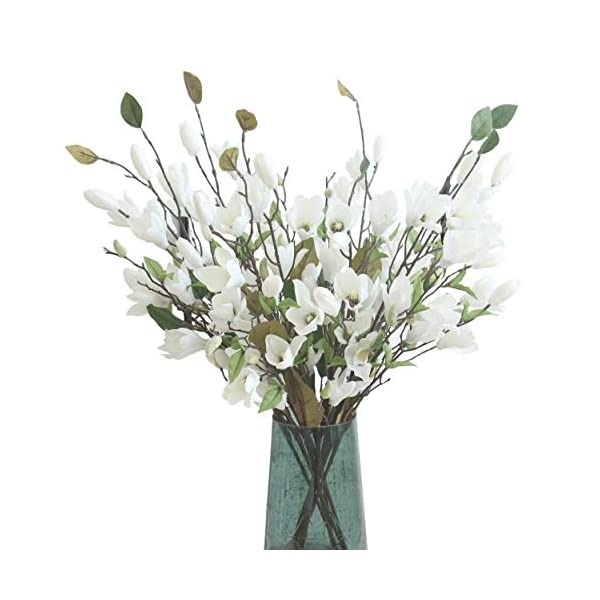 """cn-Knight Artificial Flower 6pcs 30"""" Long Stem Silk Magnolia Flower with 7 Blossoms and 2 Buds for Home Décor Housewarming Gift Wedding Bridal Bouquet Centerpiece Reception Hotel Restaurant(White)"""