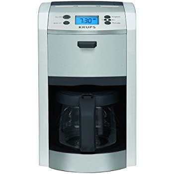 KRUPS KM8105 12-Cup Die-Cast Programmable Coffee Maker with Stainless Steel Housing, Silver