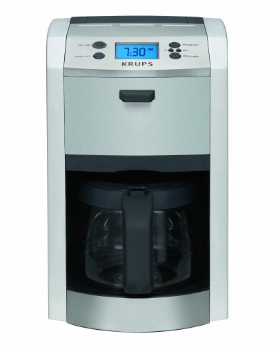 KRUPS KM8105 12-Cup Die-Cast Programmable Coffee Maker with Stainless Steel Housing, Silver (Krups 12 Cup Stainless Steel Coffee Maker)