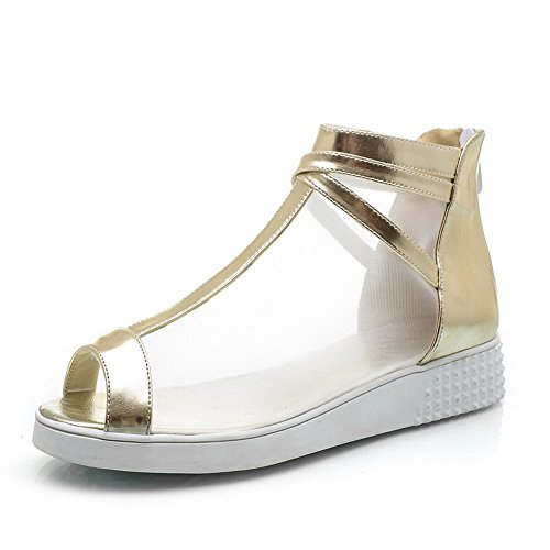 d0b9cd93b541 VogueZone009 Damen Reißverschluss Niedriger Absatz PU Leder Rein Fischkopf  Schuhe Sandalen Golden. Obermaterial  Pu Leder, Weiches Material ...