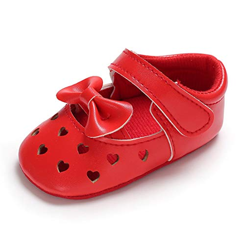 Tutoo Baby Girls' Pageant Shoes Casual Mary Jane Newborn Infant Walkers Shoes (4.33 inch(3-6 Months), B-red)