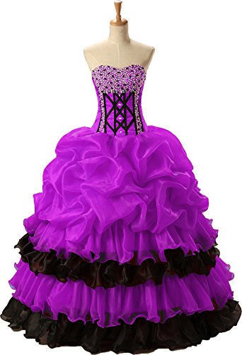 Okaybrial Women's Sweet 16 Party Dresses Beaded Sweetheart Organza High Low Ball Gown Quinceanera Dresses Beaded Silk Organza Dress