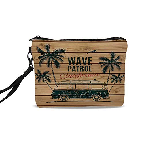 (Surf Simple Cosmetic Bag,Vintage Minivan with Tropical Trees on Wooden Planks Freedom Fun Wave Weekend Theme for Women,9
