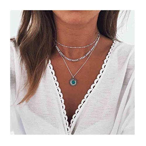 Edary Boho Layered Necklace Turquoise Pendant Beaded Necklace Silver Jewelry Accessories for Women and Girls. ()