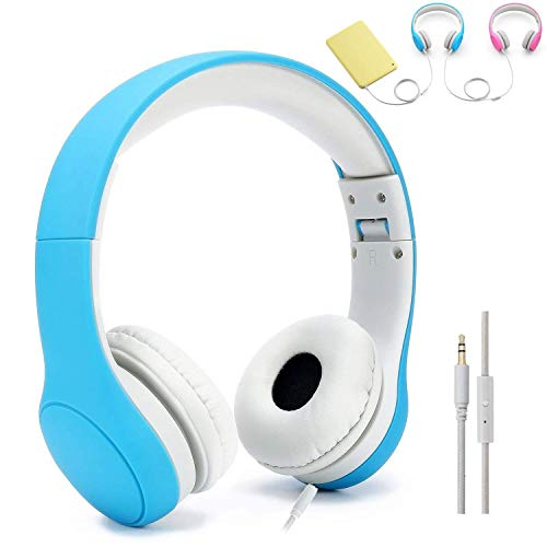 Kids Headphones, Abonda Max 93dB Foldable On-Ear Headphones with Mic, Volume Limited Wired Earbuds Headphones for Kids,Passive Noise Reduction,Boy,Blue