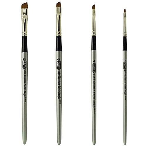 Sable Angle - ZEM BRUSH Russian Pure Sable Angle Shaders Brush Set Sizes 2-4-6-8 Made in Germany