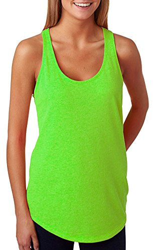 Cotton Terry Tank Top (Next Level Lightweight Racerback French Terry Tank Top, Neon Hthr Green,)