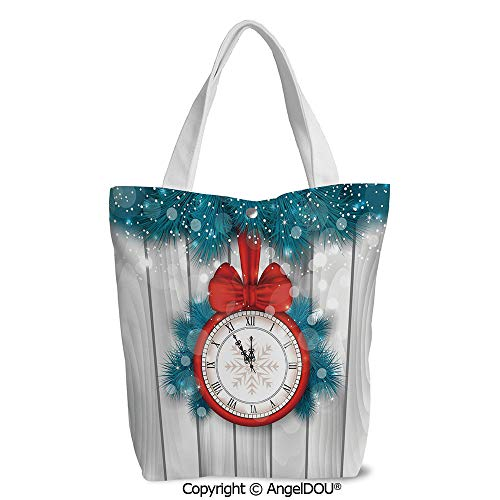 Shopping bag Cool Tote Canvas bag for Women New Year Midnight A Clock and Fir Br ()