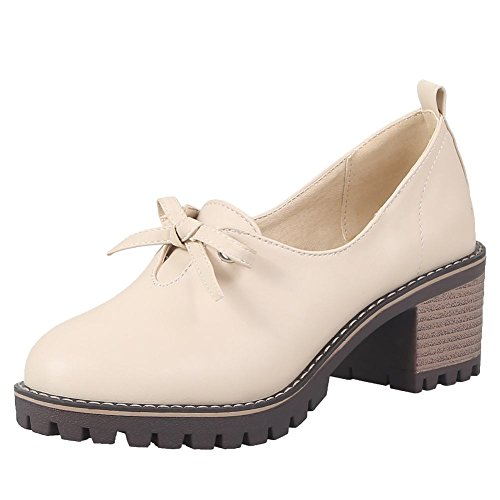 Charme Voet Womens Western Bows Chunky Mid Hak Loafers Schoenen Abrikoos