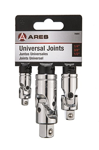 "Drive Coupler Tools (3-Piece Universal Joint Socket Set | ARES 70091 | Includes ¼"", 3/8"", and ½"" Drive U-Joints)"