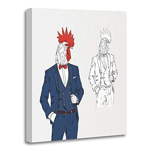 Emvency Painting Canvas Print Artwork Decorative Print Wooden Frame Anthropomorphism Rooster Dressed Up in Classy Style Anthropomorphic Animals 12x16 Inches Wall Art for Home Decor for $<!--$25.80-->