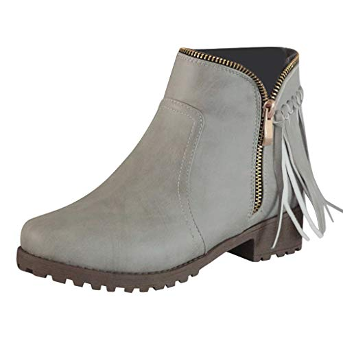 - Womens Ankle Boots,ONLY TOP Retro Western Block Heel Bootie Zipper Tassel Accent Shoes Cowboy Bootie Grey