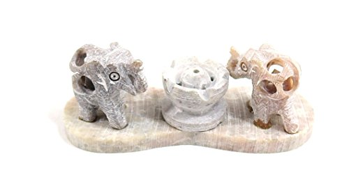 Yapree Handmade Natural Marble Stone Elephant Incense Burne/ Holder with 2 Elephant Statues