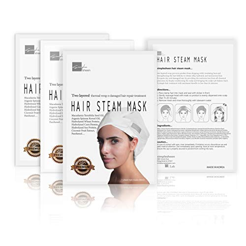 Simple Sheen Hair Mask - Steam Repair Mask for Dry and Damaged Hair - Moisturizing Hair Sheet Mask - No Dripping, Double Layered, Perfect for All Hair Types (4 Pack)