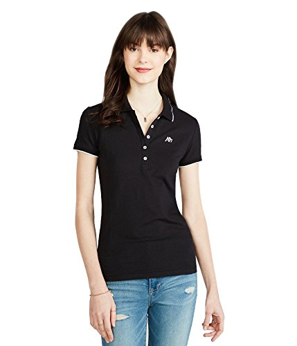 Aeropostale Womens Solid Tipped Collar Shirt