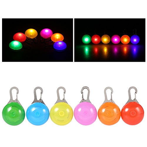ight, 6 Packs PChero Clip-On SpotLit Waterproof LED Dog Collar Charms Safety Lights, Stainless Steel Carabiner Clasp - [Blue, Green, Orange, Pink, Red & Yellow] ()