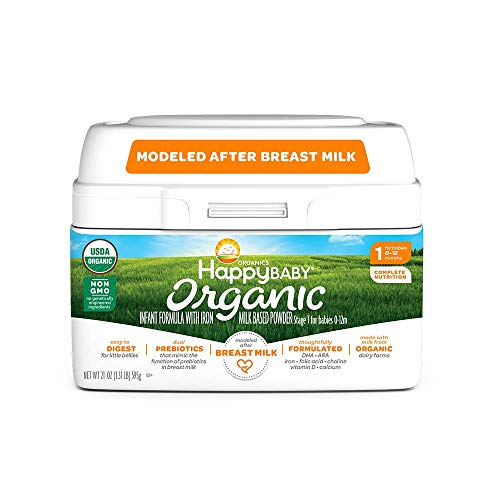 Happy Baby Organic Infant Formula Milk Based Powder with Iron Stage 1, 21 Ounce (Packaging May Vary)