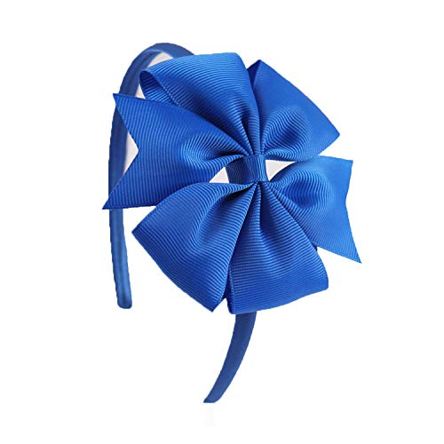 4 Inch Girls Bow Hairband Children'S Candy Colors Pinwheel Hair Band With Grosgrain Ribbon Bow Handmade Solid Hair Accessories,Electric Blue - Ribbon Blue Grosgrain Electric