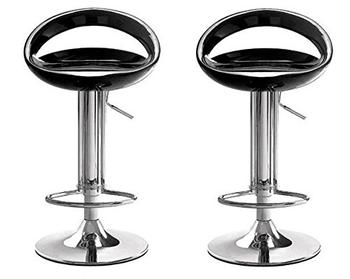 Roundhill Furniture Contemporary Chrome Adjustable Swivel Bar Stool with Black Seat, Set of 2 - Stool White Acrylic Bar