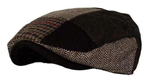 Wonderful Fashion Men's Multi Pattern Patchwork Wool Blend Newsboy IVY Golf Hunting Hat (DK.Brown, - Pattern Dk
