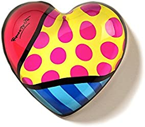 Romero Britto *New* Heart Shaped Paper Weight- Yellow W/Pink Dots