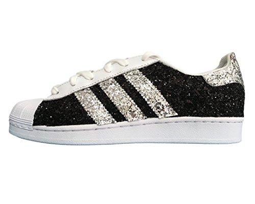 con Bianco bianche nero Superstar argento e glitter tessuto qP0dw6x