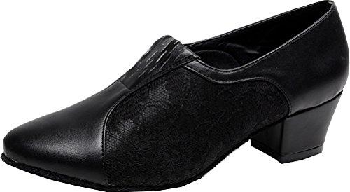 Sneaker shoes Block toe Practice Womens Black Dance Heel JJ A 7008A CFP PU Round SqXBwIPB