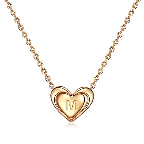 M MOOHAM Initial M Necklace Gifts for Girls - Alphabet Initial Necklace Letter Necklace for Women Girls, Necklace for Teens Girls Kids Baby, Wing Initial Necklace Best for Women Girl