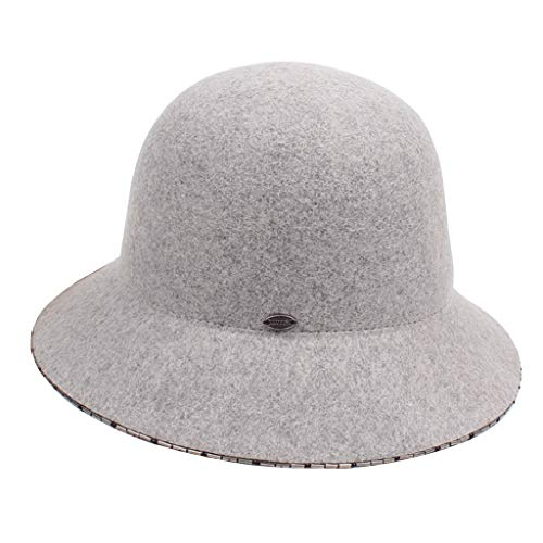 YC° Dome Pearl Studded Top Hat, Elegant Autumn Winter Wool Fisherman Hat Basin Cap (Color : A)