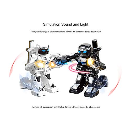 Toys for Kids 2PC RC Battle Boxing Robot Dual RC Wireless Controllers, Multi-Direction Movement W/Full Motion 2X Charging Cable (one Size, Black and White)