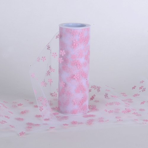 Feuzy Snowflake Design Tulle Roll 6 inch x 10 Yards for Wedding Banquet Party Decoration (Light ()