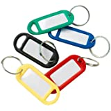 Bulk Hardware BH01822 Assorted Coloured Key Ring Tags with Labels - Assorted Colours, Pack of 48