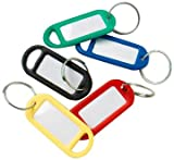 Bulk Hardware Assorted Coloured Key Ring Tags - Assorted Colours, Pack of 48 Pieces