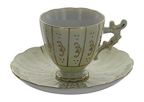 Vintage Cream & Gold Demitasse Footed Tea Cup With Ornate Handle & Saucer Set