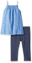 Nautica Toddler Girls\' Printed Tunic with Capri Legging Set, Light Chambray, 4T