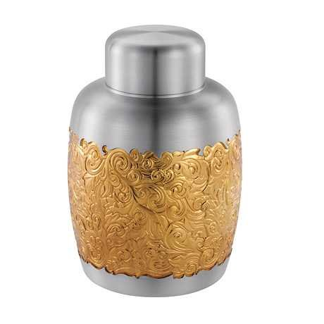 Royal Selangor Hand Finished Isthmus Collection Pewter Airtight Tea / Coffee Caddy (S) with 24K Gold Plating by Royal Selangor