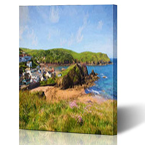 Armko Canvas Wall Art Prints Tourist Hope Cove South Devon England UK Near Kingsbridge Sun Salcombe On West Coast Path Like 16 x 16 Inches Wooden Framed Painting Home Decor Bedroom Office