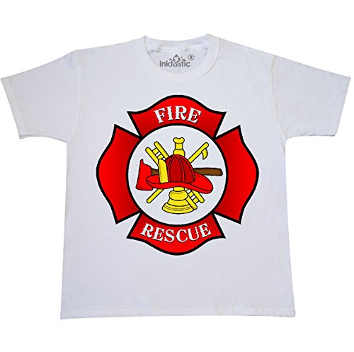 Tee Shirts Fireman (inktastic - Maltese Cross Firefighter Youth T-Shirt Youth Small (6-8) White)