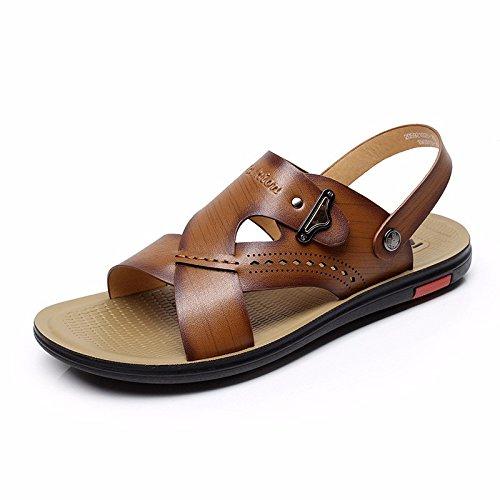 Sommer Das neue Strand Schuh Faser Leder Sandalen Männer Trend Atmungsaktiv Leder Sandalen Atmungsaktiv Jugend ,braun ,US=9,UK=8.5,EU=42 2/3,CN=44