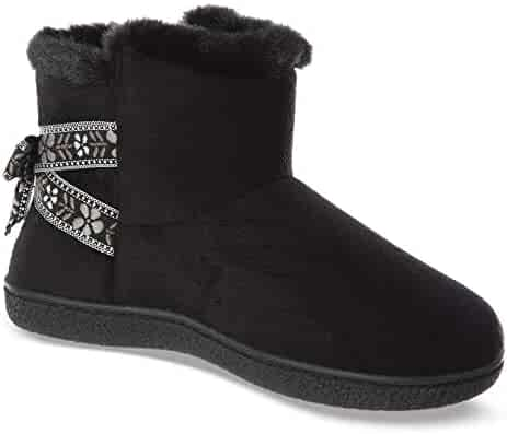 3069843ac ISOTONER Women's Memory Foam Nora Boot Faux Fur and Bow Detail with Indoor  Outdoor Comfort Sole