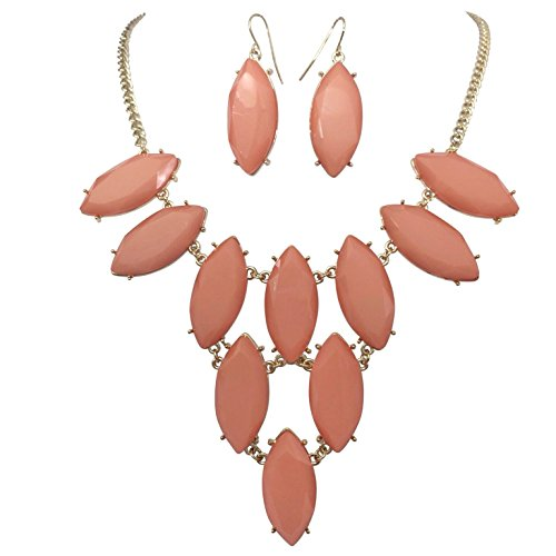 (Eye Shaped Cluster Bubble Gold Tone Boutique Statement Necklace & Earrings Set (Peach))