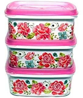 Nayasa Multicolour Plastic Container 250 Ml   Pack of 3