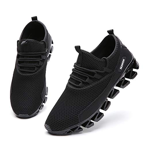 SKDOIUL Jogging Shoes for Men mesh Breathable Comfort Sport Athletic Running Walking Shoes Man Runner Sneakers Casual Tennis Trainers All Black Youth Boys Sneaker Size 7 (Best Sport Shoes For Walking)