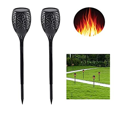 HXDWLKJ New Small Mini Size Solar Flame Torch Light Dancing Flickering lamp Solar Lights IP65 Waterproof for Outdoor Garden, Parties, Campfires, Camping, Beaches Lighting and Decoration (2) : Garden & Outdoor