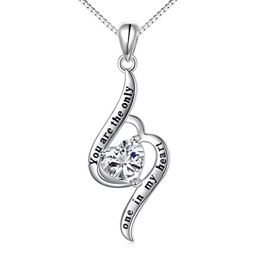 S925 Sterling Silver Engraved You are the Only One in My Heart Necklace Gift for Her, Women, Girlfriend, 18