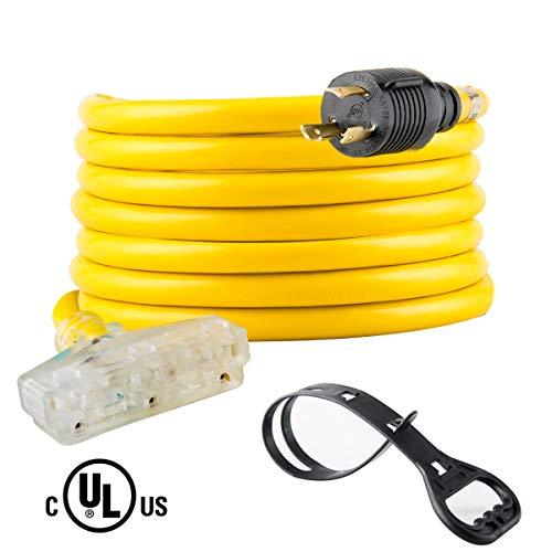 25 Feet Heavy Duty Generator Extension Cord,Generator Locking cord,NEMA L5-30P/Three 5-15R, 3 Prong 10 Gauge Flexible Generator Cable, Generator Power Cord,30Amp 3750 Watts UL Listed Yodotek