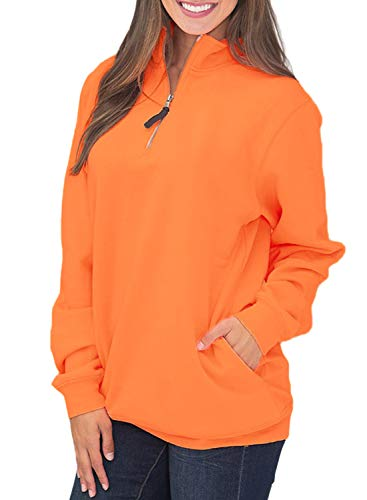 (Samefar Womens Cute Warm Cozy Thick High Collar Long Sleeve Casual Solid 1/4 Zip Pullover Sweatshirts Orange 8 10 Medium)